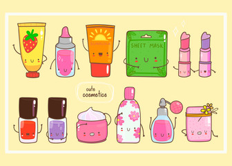 Hand drawn various cute cosmetics. Colored vector set. All elements are isolated