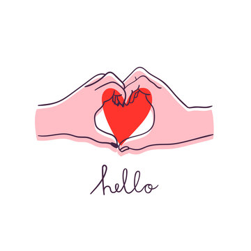 Hello. Two hands in heart shape. Saint Valentine's day colored vector illustration