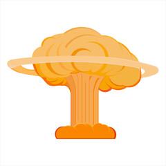 image of a nuclear explosion, blast wave, total destruction