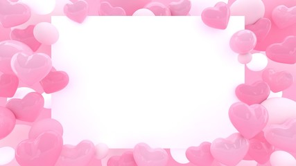 3d hearts background. Valentines day. Love wallpaper. Wedding. Engagement. Datting. Romantic poster. Passion. Pastel pink. Paper frame.