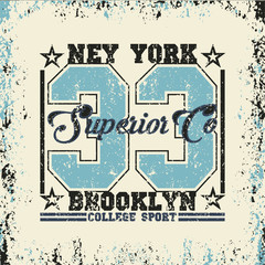sport t-shirt, NYC vintage graphic, original sports emblem