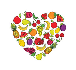Stylized images of fruits in the shape of a heart.  Vector illustration. Hand drawn.