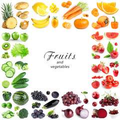 Collection of color fruits and vegetables on white background. Frame