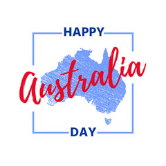 Australia Day. Vector. Banner for Happy Australia Day with Australian map in blue and red. Greeting card, poster, holiday background template. Colorful illustration.