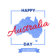 Happy Australia Day. Vector. Banner for Australia Day with Australian map in blue and red. Greeting card, poster, holiday background template. Colorful illustration.
