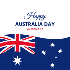 Australia Day. Vector. Happy Australia National Day banner with Australian waving flag. Greeting card, poster, holiday background template. Blue red illustration.