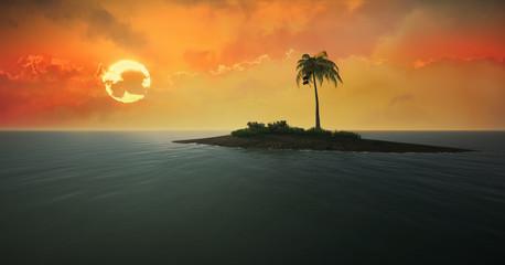 Tropical island against the setting sun