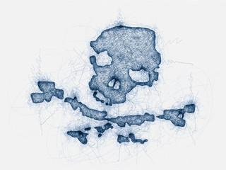 pirate skull ball pen doodle