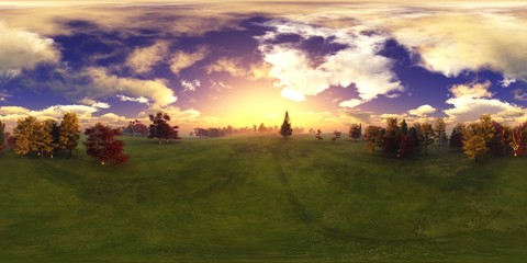 HDRI, environment map , Round panorama, spherical panorama, equidistant projection, panorama 360, panoramic landscape of green hills under a sky with clouds and the sun,