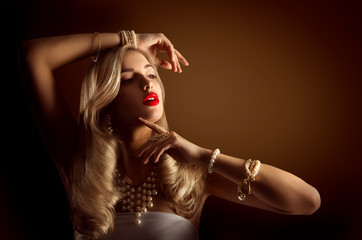 Woman Jewelry, Gold Pearl Jewellery Bracelets and Necklace, Beauty Fashion Model Portrait, Girl Long Golden Hair