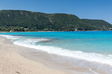 Seascape with Agios Ioanis beach with blue waters, Lefkada, Ionian Islands, Greece