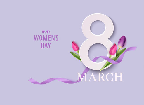Happy Womens Day. 8March design template. Decorative number with purple ribbon and tulip flowers. Vector illustration