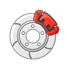 Brake disc icon. Isolated vector illustration on white background