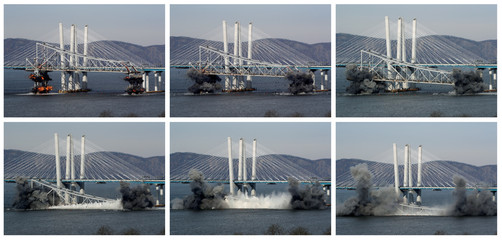 A combination of six photographs shows the east anchor span of the old Tappan Zee Bridge being demolished by explosives into the Hudson River in front of the New Mario Cuomo Bridge in Tarrytown