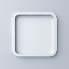 Blank white rounded square frame or empty white button isolated on grey wall background with shadow 3D rendering