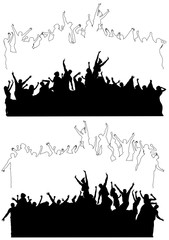 Silhouettes of dancing celebrating people