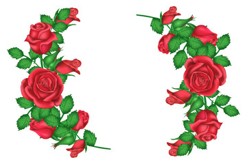 Valentines Dent greeting card roses, garlands of roses