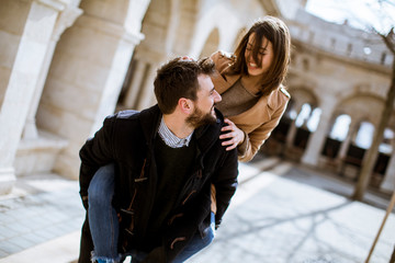 Loving couple walking and having fun in Budapest, Hungary