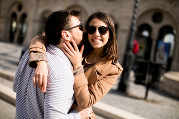 Loving couple  in the historical area of Budapest, Hungary