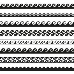 set of seamless wave borders. Vector design elements