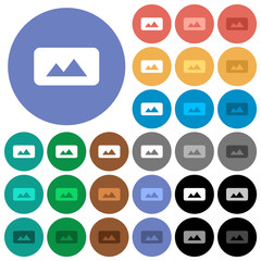 Panorama picture round flat multi colored icons