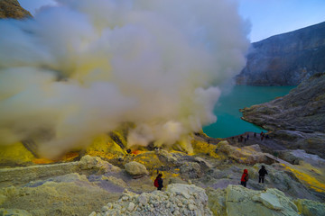 Kawah Ijen volcano crater the famous tourist attraction in the Banyuwangi, East Java island, Indonesia.