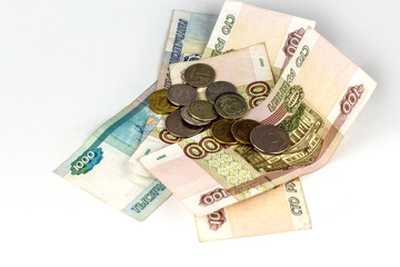 Russian money of various denominations isolated