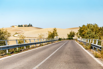 Landscape with road in Tuscany, Italy