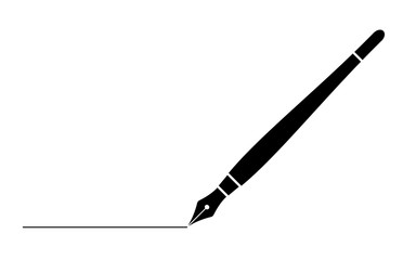 black business fountain pen with line isolated on white for web,app and design vector illustration