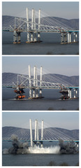 A combination of three photographs shows the east anchor span of the old Tappan Zee Bridge being demolished by explosives in Tarrytown