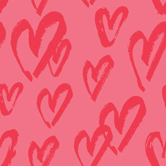 Hand Painted Hearts Seamless Pattern