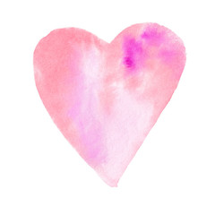 Big pink red watercolor heart, hand drawn, isolated on white background