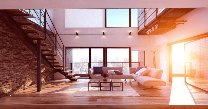 Modern living room interior at sunset
