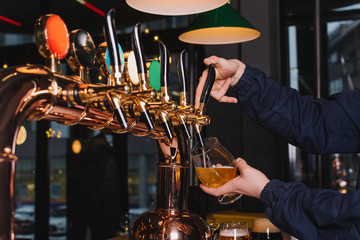 Hand of bartender pouring a lager beer in tap