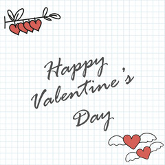 Valentine's day background with elements on school notebook sheet.Vector.