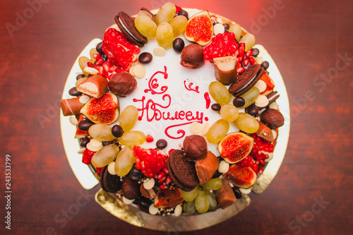 Happy Anniversary Cake With Fruits With Description In Russian