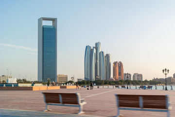Beautiful view of Abu Dhabi city corniche street, famous skyscrapers, and towers Wall mural