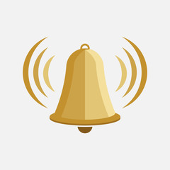 icon bell, bell tower, warning sign, flat design