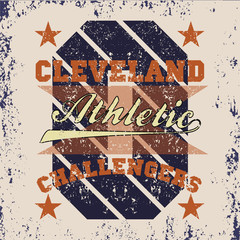 T-shirt cleveland, atletics Typography, Fashion challengers