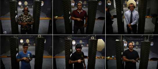 A combination picture shows members of the Colt 45 shooting club posing with their guns, in Rio de Janeiro