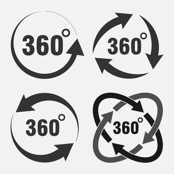 set of icons 360 degree rotation, degree of rotation, angle indi
