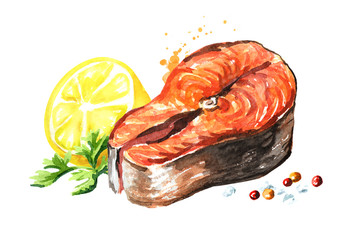 Grilled salmon fish fillet with lemon and spicies. Watercolor hand drawn illustration isolated on white background