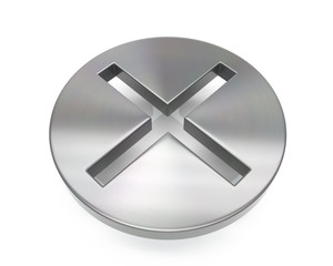 3d brushed metal cross icon