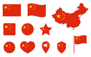 China flag icons set, national symbol of the Peoples Republic of China