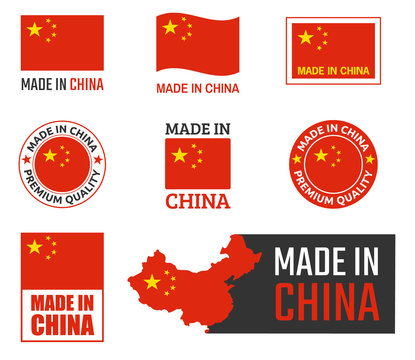 made in China labels set, Chinese product emblem