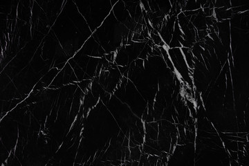 Awesome background of black natural stone marble with a white pattern called Nero Marquina or Black Majesty