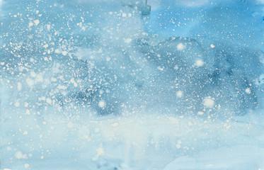 Fototapeta  watercolor winter snowstorm