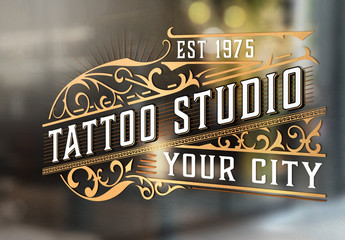 Vintage Tattoo Studio Logo Layout