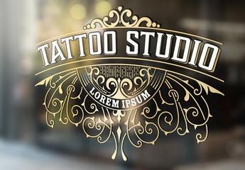 Vintage Tattoo Studio Logo Layout