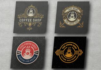 Set of 4 Coffee Shop Logo Layouts